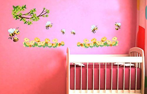 Wandsticker Nr.848 Set Fleissige Bienen, Wanddekoration, Sticker Wandtattoo Honig Kinder Landschaft