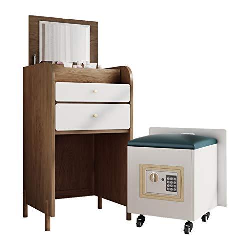EVEN Gabinete de pie multifunción con Espejo, Cofre de Madera, armarios de joyería de Dormitorio con 2 cajones, con Taburete de Caja de Seguridad avanzado Creativo