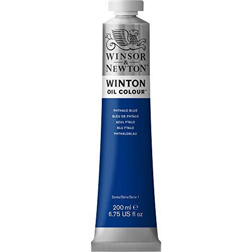 Winsor & Newton 1437516 Winton, feine hochwertige Ölfarbe - 200ml Tube mit gleichmäßiger Konsistenz, Lichtbeständig, hohe Deckkraft, Reich an Farbpigmenten - Phthaloblau