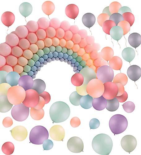 Xinmeng Palloncini Pastello Palloncini Color Pastello 100 Pezzi 10 Pollici Macarons Palloncini in Lattice per la Decorazione della Feste di Compleanno,Matrimoni Accessori,Feste,San Valentino.