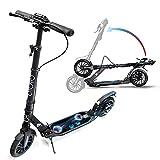 Scooter Adultos con doble suspensión, Big 2 ruedas, plegable ajustable, Patinete para adolescentes, disco de freno de mano y freno trasero, correa de transporte gratuita (negro)