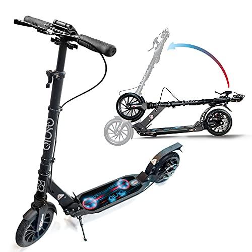 Tretroller für Erwachsene mit doppelter Federung, große 2 Räder, faltbar und verstellbar, für Jugendliche, Handbremsscheibe und Hinterradbremse, inkl. Tragegurt (schwarz)