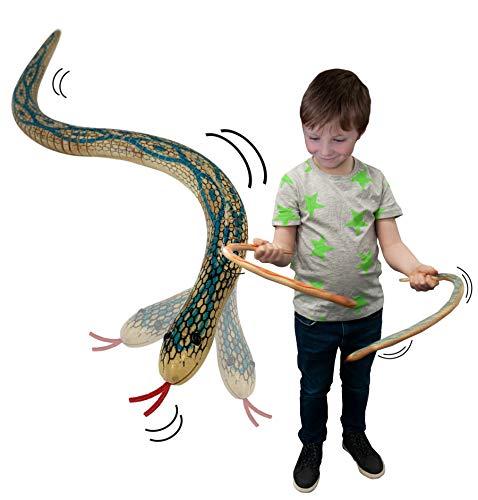 Wooden Wiggle Snake de Deluxebase. Una novedosa Serpiente de Juguete Que se balancea y se Mueve. Resistente Regalo Ideal para Fiestas Infantiles con temática Retro