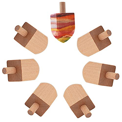 GORGECRAFT 15PCS Wooden Dreidels Unfinished Wood Dreidel Blank Natural Ready to Decorate Perfect for Hanukkah Party