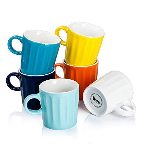 Sweese 410.002 Porcelain Fluted Espresso Cups - 3.5 Ounce - Set of 6, Hot Assorted Colors
