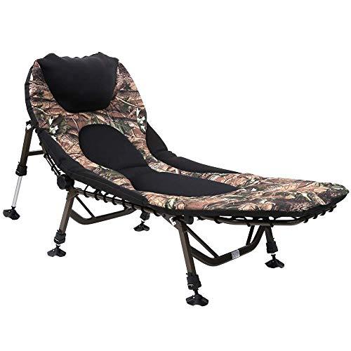 WXF Cama Plegable Acampar, Camuflaje Portátil Al Aire Libre Cama Individual Oficina Respaldo Ajustable Sala Reclinable Cama Acompañante