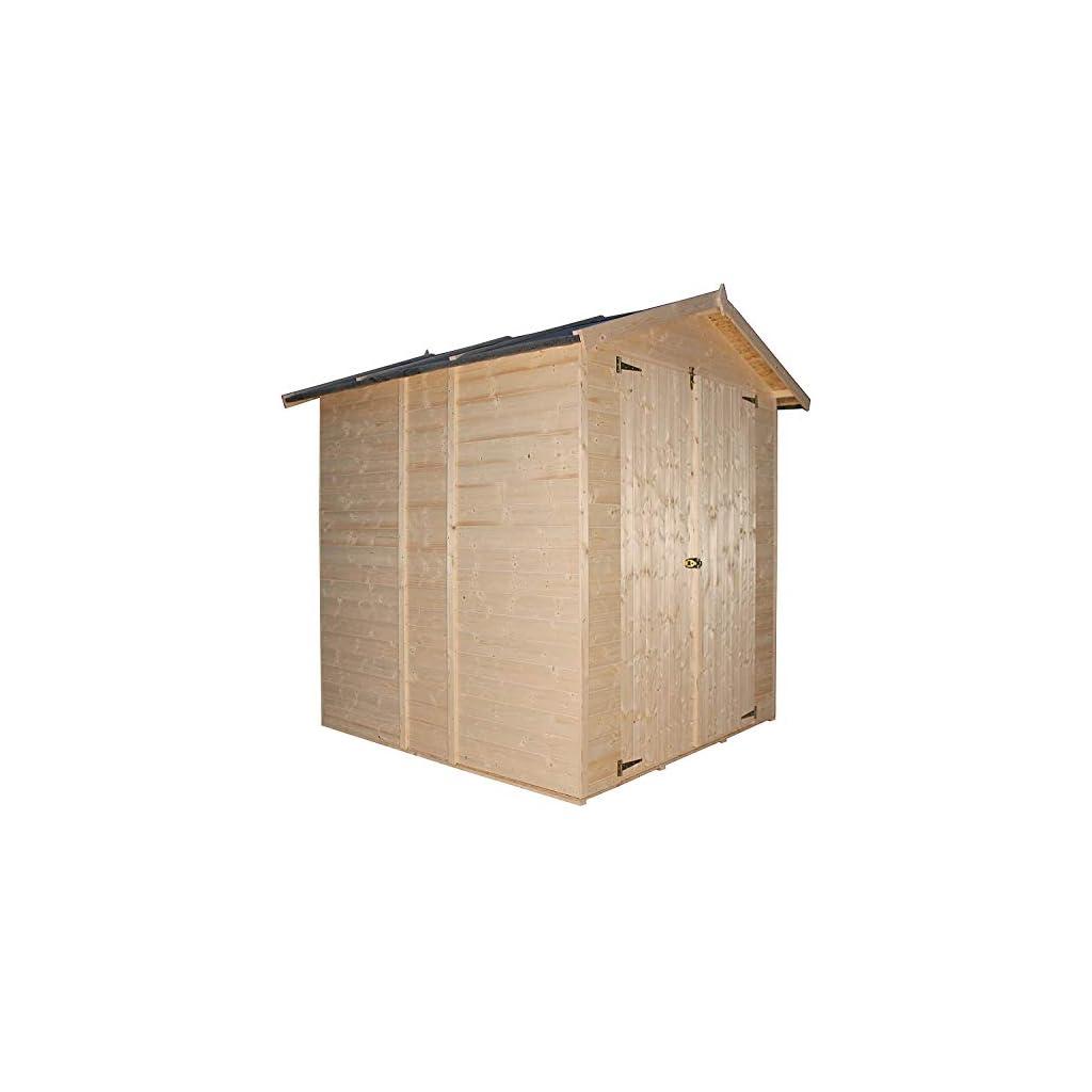 TIMBELA Abri de Jardin en Bois Naturel – Stockage extérieur avec Plancher- H216 x 206 x 200 cm/2.99 m² – Hangar en Bois…