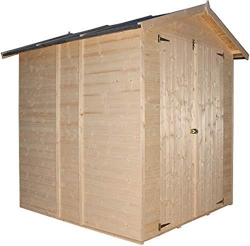 TIMBELA M300 Holzhaus Sommerhaus - Kiefern- / Fichtenschuppen, Paneelstruktur - H216 x 206 x 196 cm / 3 m2