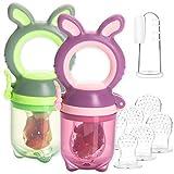 2 Fruchtsauger Baby Häschen + 6 Silikon-Sauger in 3 Größen + 1 Baby-Zahnbürste - BPA-frei Schnuller Beißring für Obst Gemüse Brei Beikost (2er-Pack+Zahnbürste)