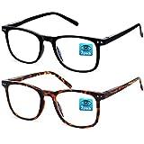 APOSHION Gafas anti Luz Azul - Paquete de 2 Gafas para Ordenador, Gafas de Filtro Luz Azul para Hombres/Mujeres, Gafas Proteccion Ordenador Gafas Gaming para Antifatiga (Tortuga & Negro)