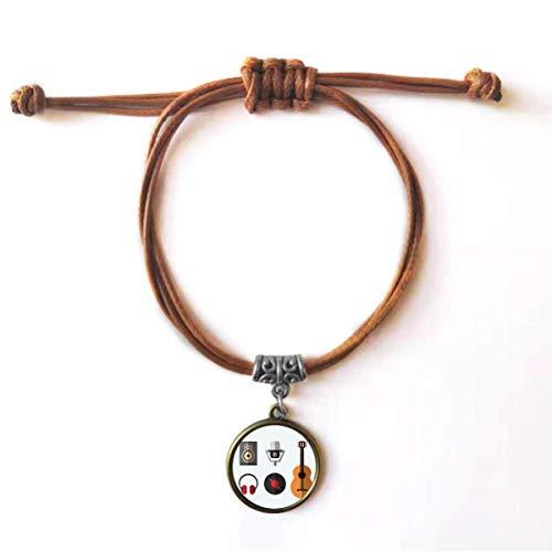DIYthinker Fone de ouvido de guitarra com microfone de CD, pulseira de couro com corda escondida marrom joia presente