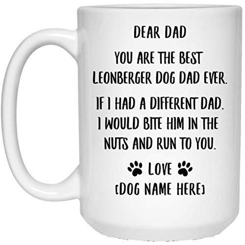N\A Divertido, Eres el Mejor papá de Leonberger con Nombre Personalizado Taza de café con Leche