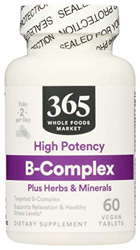 365 by Whole Foods Market, Supplements - Vitamins, B-Complex plus Herbs & Minerals - High Potency, 60 Count