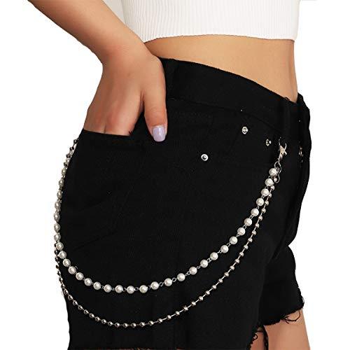 Ttdbd Chaînes de Jeans Double Couche de chaîne de Poche de Perle chaînes de Pantalons Punk Rock Hip Hop Style Taille chaîne Bijoux Accessoires pour Femmes et Filles