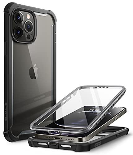 i-Blason Coque pour iPhone 13 Pro (2021) 6,1'', avec Protecteur d'Ecran Intégré, Dos Transparent, Bumper Antichoc [Série Ares] Protection 360 Degrés Intégrale (Noir)