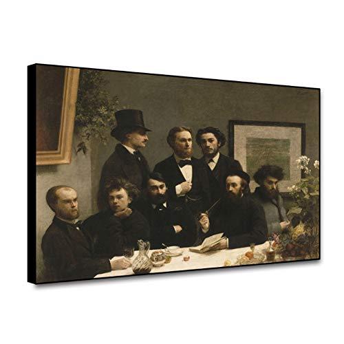 Hoek van Salon eettafel door Henry Fontaine schilderij klassieke kunst Lebo Monet portret Canvas Print Art Wall Decor foto-60x90cm geen Frame