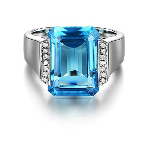 AueDsa Anillo de Mujer Plata Azul Anillos Mujer Oro Blanco 18K Rectángulo Topacio Azul 11.55ct y Diamante 0.08ct Talla 20
