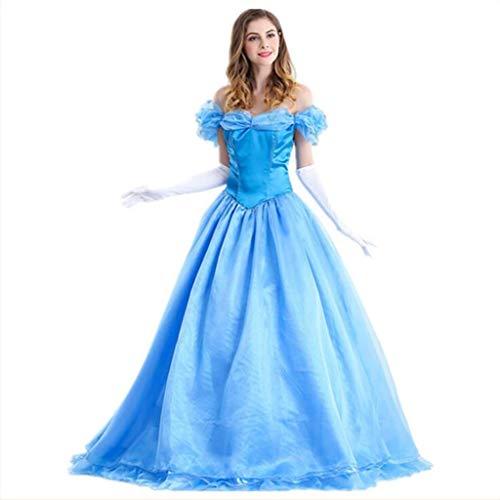 Disfraz de Cenicienta Blancanieves para Adulto, Traje de Cosplay de Alice, Disfraz de Halloween Vestido de Noche de Las señoras (Color : Blue, Size : XXL)
