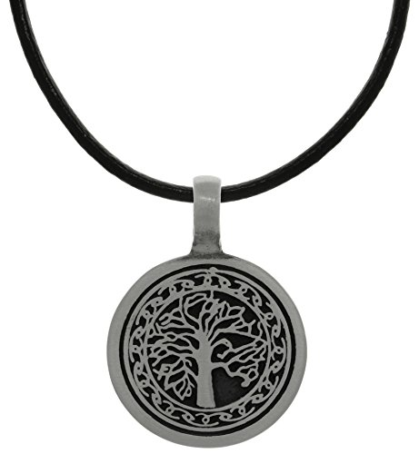 Jewelry Trends Pewter Tree of Life Pendant with Celtic Knot Design on Black Leather Necklace