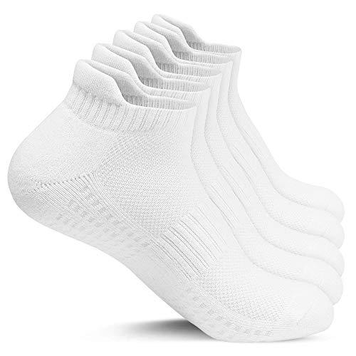 Gozlu Sneaker Socken Herren, 5 Paar Sportsocken Anti-blister Laufsocken mit Verdickt Polsterung, Belüftungskanäle, Gewölbestütze, Weiß, Gr. 41-46