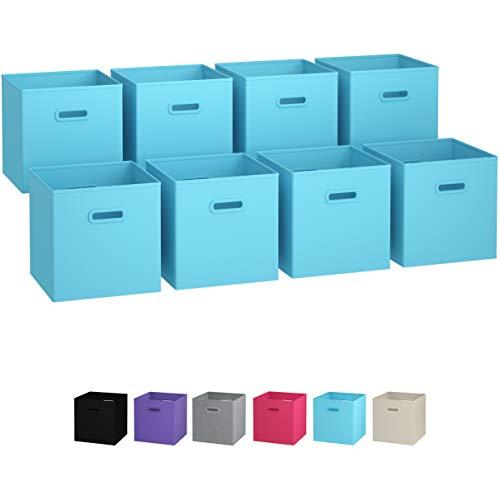Ordnungsbox - 8 Boxen Aufbewahrung Set   Faltboxen Mit Zwei Tragegriffen   Faltbare Kallax Boxen   Extra Stabile Stoffbox Als Kallax Einsatz   Kisten Aufbewahrung [Blau]