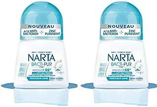 Narta - Déodorant Femme Bille Anti-Transpirant Bacti-Pur Fraicheur Saine Efficacité 48h - 50 ml - Pack of 2