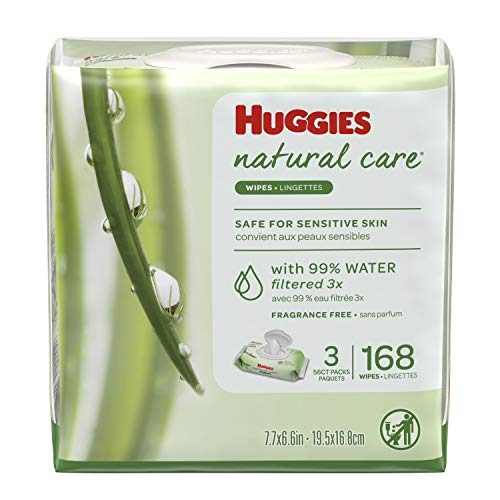 Huggies Natural Care Unscented Baby Wipes, 3 Flip-Top Packs (168 Total Wipes)