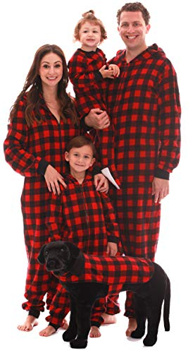 #followme Family Pajamas Buffalo Plaid Microfleece Mens Adult Onesie 6754-10195-XL