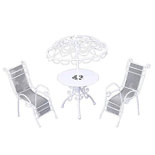 Sonoaud 3Pcs/Set Miniature Table Chairs Exquisite DIY Mini 1:12 dollhouse Iron Furniture,Pretend Furniture Decor Gift for Toddlers Over 3 Years White