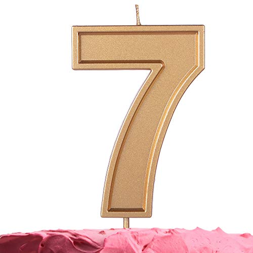 GET FRESH Number 7 Birthday Candle – Extra Large Gold Number Seven Candle on Stick 3.94 Inch Gold Number Candles for Birthday Anniversary Wedding – Seven Bday Candle Cake Topper – Large Gold 7 Candle