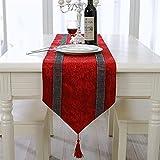 Camino de mesa simple hecho a mano, elegante ambiente, simple y moderno, camino de mesa de diamante, noble, lujoso, plata, gris, brillante, terciopelo aplastado, 5 colores de Navidad y Ne