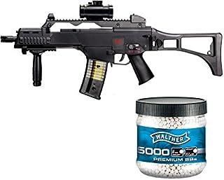 Juego: HK Heckler & Koch G36 C AEG - Rifle eléctrico Softair, incluye bolas Softair Walther Premium de 6 mm, 0,20 g, 5000 unidades, color blanco