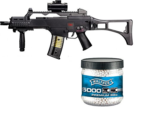 g8ds Set: HK Heckler & Koch G36 C AEG Rifle de Airsoft eléctrico (+ Walther PREMIUM Airsoft color blanco 6 mm, 0,20 g, 5000 BBS