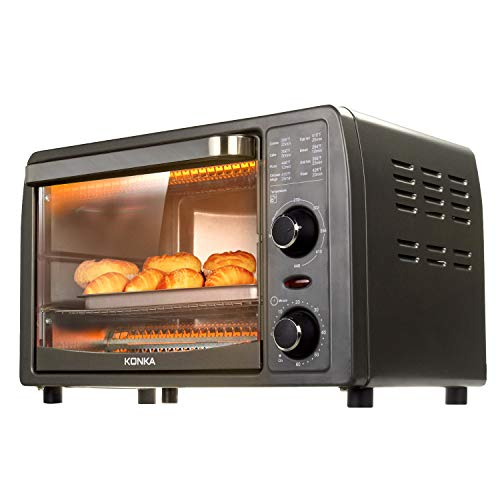 KONKA Mini Toaster Oven, 2-Slice,Stainless Steel,60 Min Timer,1050 Watts,14.7 x 15.6 x 9.2 Inches,8.95 Pounds, Gray,Suitable for 1 or 2 Person,Ship From USA