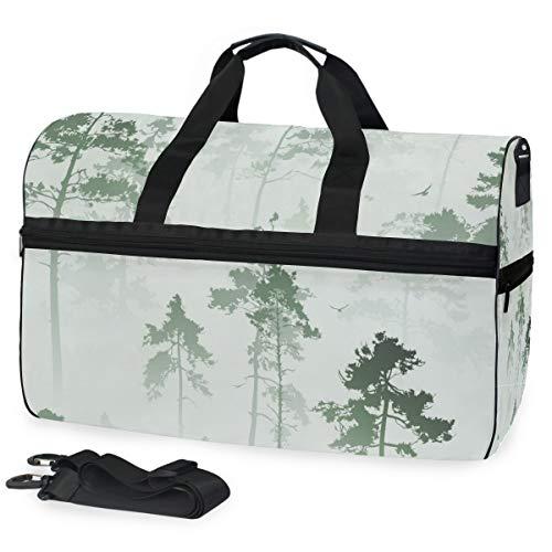 Tree Tops - Bolsa de viaje grande para el fin de semana o la noche, bolsa de gimnasio, bolsa de deporte con compartimento para zapatos