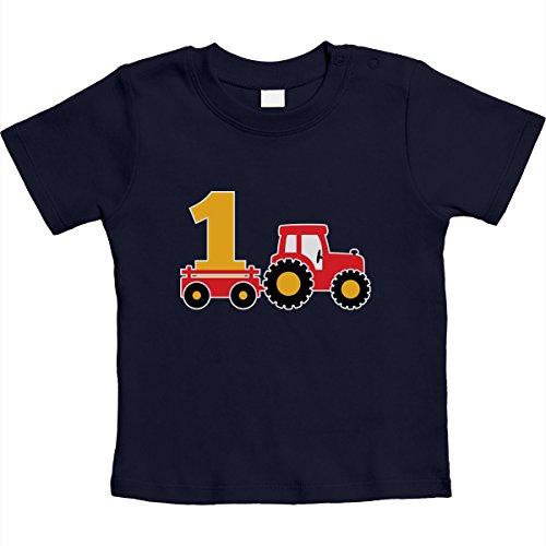 1 Jahr Geburtstag Junge Geschenk Traktor Bagger Unisex Baby Thirt 6-12 Monate Marineblau