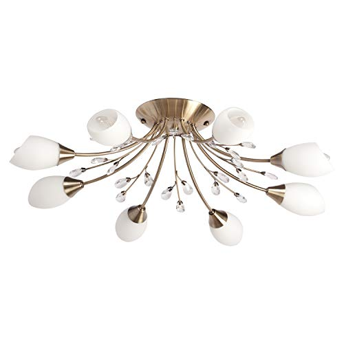 DeMarkt 356015308 Lampadario da Soffitto in Metallo Colore Ottone Bianco Vetro Contemporaneo in Stile Moderno 8 luci x 60W E14
