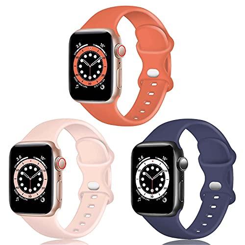 TopPerfekt Correa de silicona compatible con Apple Watch Correa de 42 mm 44 mm, correas de repuesto de silicona para iWatch Series 6 5 4 3 2 1 SE (42/44 mm-M/L, coral/azul gris/rosa arena)