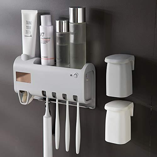 Dytxe-shelf Tandenborstelhouder, sterilisator, tandenborstels, uv-desinfectiebox, tandenborstelhouder, zuignap, wandbewaren, tandenborstel voor badkamer, grijs