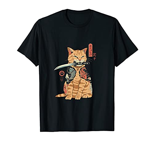 sdiby Vintage Anime Cat T Shirts for Men Women Short Sleeve Shirts for Adult Teens Black5 Large