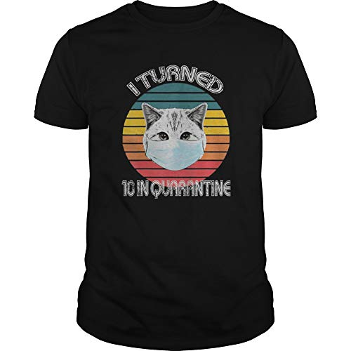 10th Birthday in Q.uarantine Cat R.etro Shirt for Unisex, for Holiday, for Halloween, for Christmas, for New Year, for Thanksgiving - Front Print T- Shirt for Men and Women