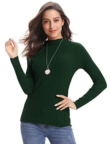 Abollria Jerséis para Mujer Cuello Redondo Ligero Clásico Suéter Otoño Basic Pullover de Punto Invierno Color Sólido Sweater Manga Larga, Verde, L