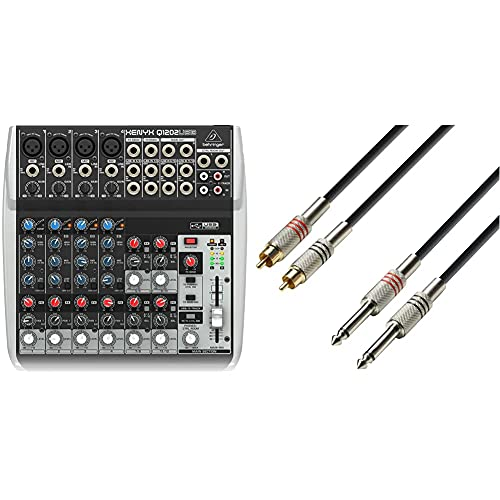 Behringer Q1202USB Xenyx Premium 12 Kanal 2-Bus Mixer mit Mic Preamps/Kompressoren/British EQs Und USB/Audio Interface & Adam Hall Cables Audiokabel 2 x Cinch male auf 2 x 6,3mm Klinke mono 3m