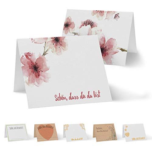Partycards 50 Tischkarten/Platzkarten DIN A7 für Hochzeit, Geburtstag, Kommunion, Taufe (DIN A7, Kirschblüte)