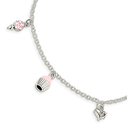 925 Sterling Silver Childrens Enameled Lollipop/cupcake/heart 5.5 Plus 1.5in Extension Bracelet Inch Fine Jewellery For Women Gifts For Her