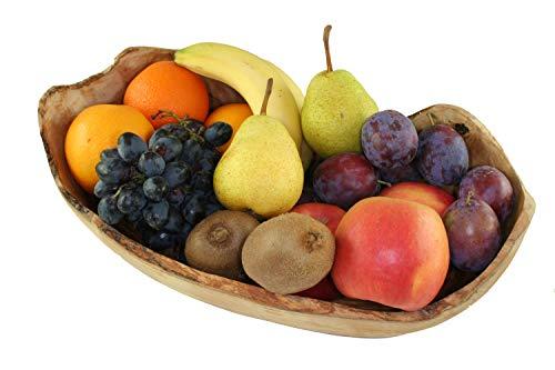 D.O.M.® - Ciotola per frutta RUSTIKAL in legno d\'ulivo naturale, in 5 misure (lunghezza 23-26 cm)