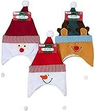 Set of 3 Children/Kids Holiday Character Hat w/Pompom - Santa,Reindeer,Snowman