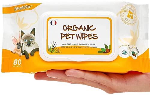 Dhohoo Pflegetücher für Hunde und Katzen - 80 Stück/Packung Bio-Reinigungstücher für Körper, Pfoten, Ohr, Gesicht - Duftfreie Hypoallergene, Natürliche, Feuchttücher für Hunde