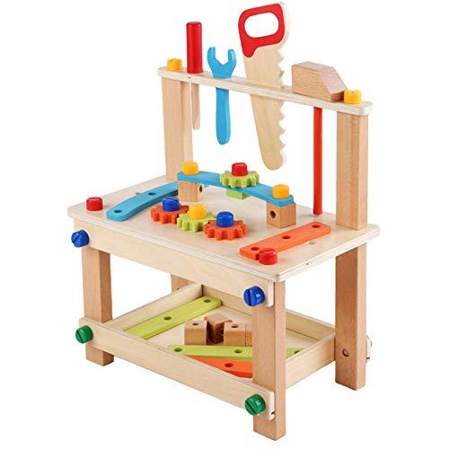 LOVOICE Kinder Werkbank,Werkbank Aus Holz, Rollenspielzeug,Holzkonstruktionsspielzeug Innovativer Pädagogischer DIY-Stuhl,ab 3 Jahren