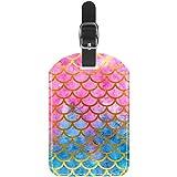 Etiquetas de equipaje de cuero para maleta de viaje con diseño de escamas de sirena de acuarela, 1 paquete